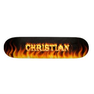 Christian skateboard fire and flames design.
