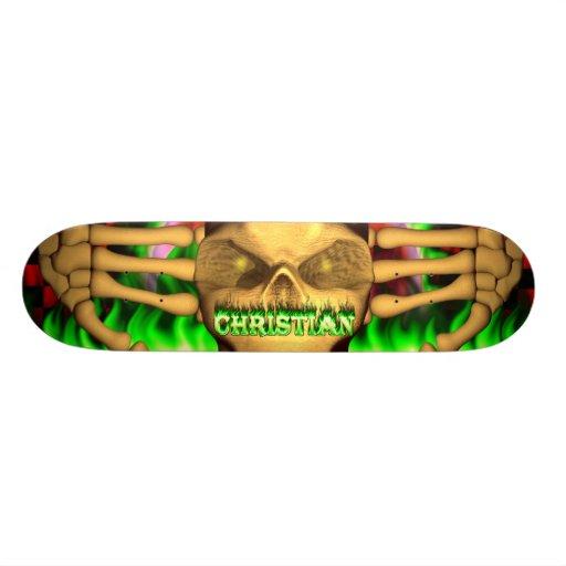 Christian skull green fire Skatersollie skateboard