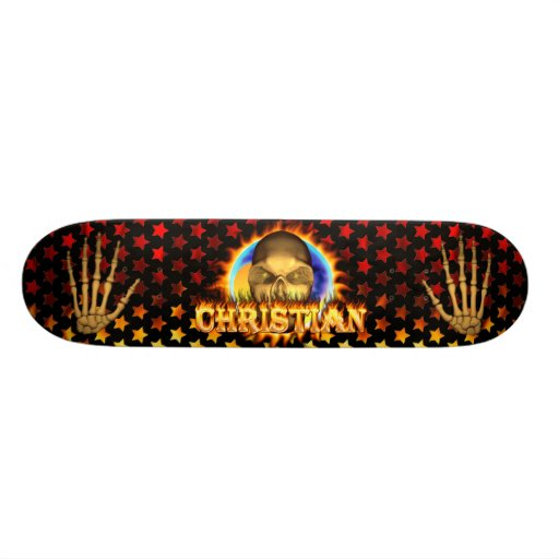 Christian skull real fire and flames skateboard de