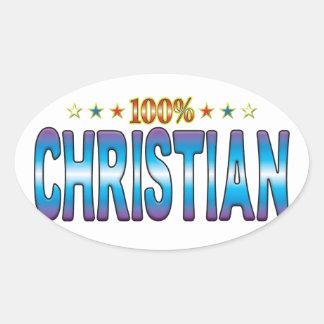 Christian Star Tag v2 Oval Stickers