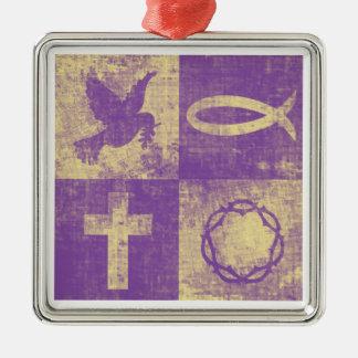 Christian Symbols Silver-Colored Square Decoration