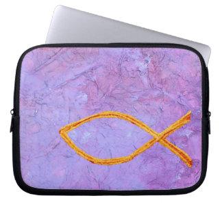 Christian symbols laptop sleeve