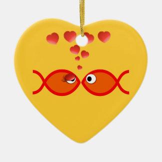 Christian Valentine Orange v2 Double-Sided Heart Ceramic Christmas Ornament