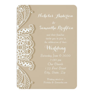 Christian Vintage Classic White Lace Taupe Wedding Card
