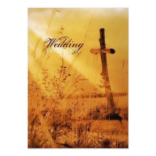 Christian vintage country cross wedding card