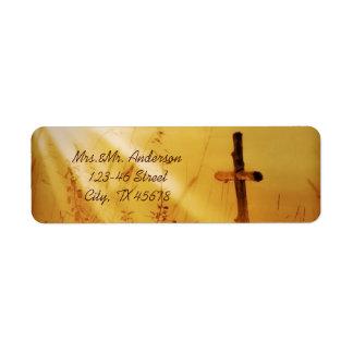 Christian vintage country cross wedding return address label