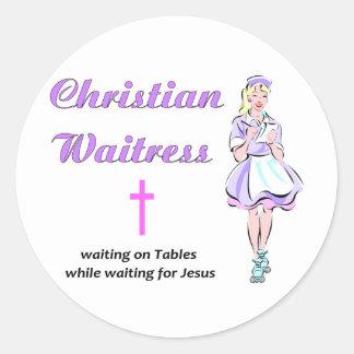 Christian Waitress religious gift Round Stickers
