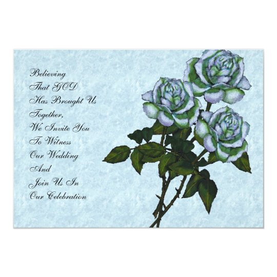 Christian Wedding Invitation: Three White Roses Card