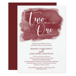 Christian Wedding Invitation - Watercolor Marsala
