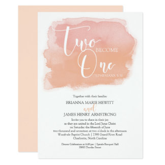 Christian Wedding Watercolor Coral Shades Card