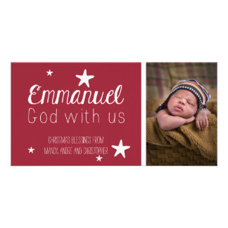 Christian Whimsical Stars Photo Christmas Card Photo Greeting Card