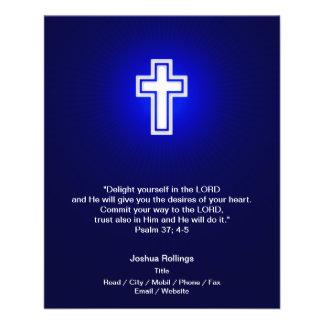 Christian White Cross on navy blue background Flyer