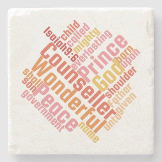 Christian WONDERFUL COUNSELOR Marble Stone Coaster