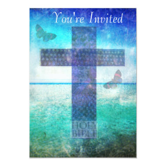 Christianity CROSS Meaningful Art 13 Cm X 18 Cm Invitation Card