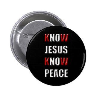 Christianity Know Jesus Know Peace 6 Cm Round Badge