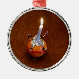Christingle Round Metal Christmas Ornament