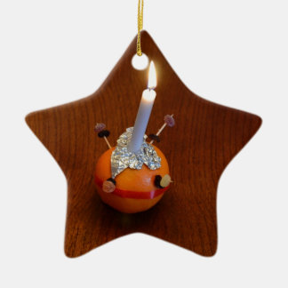 Christingle Double-Sided Star Ceramic Christmas Ornament