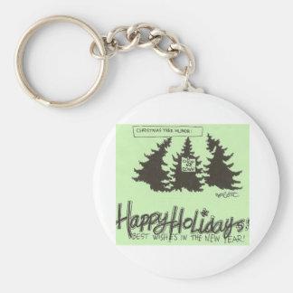Christman Tree Humor: 'CUT ME DOWN!' Basic Round Button Key Ring