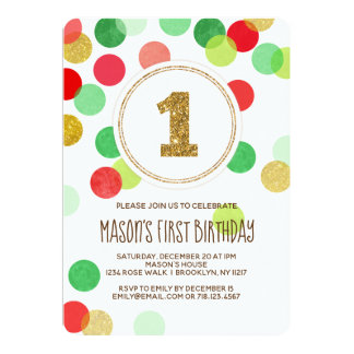 Christmas 1st Birthday Invitation Red Green Boy
