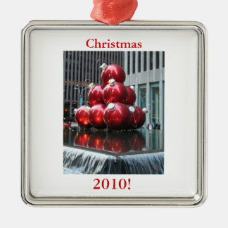 Christmas 2010 Red Christmas Balls, ornament! Silver-Colored Square Decoration