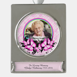 Christmas 2016 In Loving Memory Grandmother Mother Silver Plated Banner Ornament
