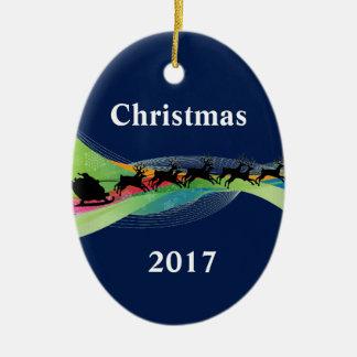 Christmas 2017 Ornament Santa Sleigh Night Scene
