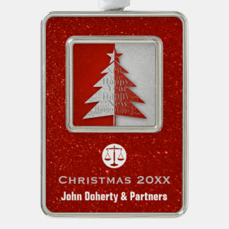 Christmas 20XX | Scales of Justice Silver Plated Framed Ornament