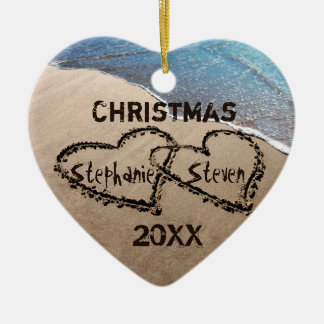 Christmas 20XX Two Hearts In Sand Custom Ornament