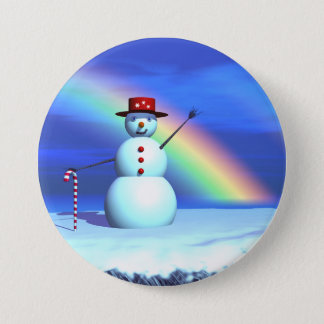 Christmas 3D Snowman 7.5 Cm Round Badge