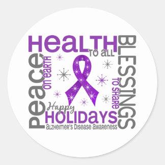 Christmas 4 Alzheimer's Disease Snowflakes Round Sticker