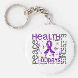 Christmas 4 Epilepsy Snowflakes Basic Round Button Key Ring