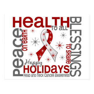 Christmas 4 Head And Neck Cancer Snowflakes Postcard