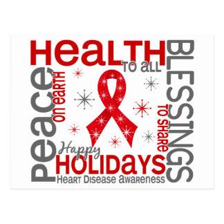 Christmas 4 Heart Disease Snowflakes Postcard