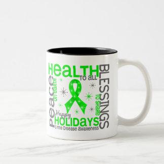 Christmas 4 Lyme Disease Snowflakes Two-Tone Mug