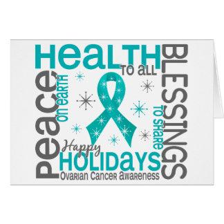 Christmas 4 Ovarian Cancer Snowflakes Greeting Card