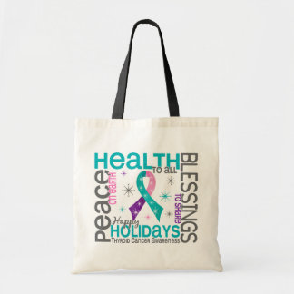 Christmas 4 Thyroid Cancer Snowflakes Bag