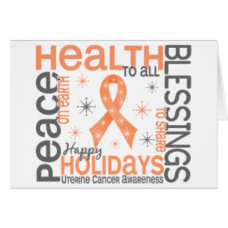 Christmas 4 Uterine Cancer Snowflakes Greeting Cards