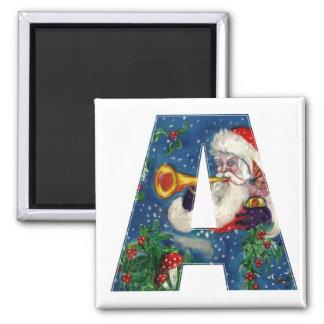 CHRISTMAS A LETTER / SANTA BUGLER MONOGRAM SQUARE MAGNET
