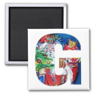 CHRISTMAS A LETTER / SANTA WITH CHRISTMAS TREE SQUARE MAGNET