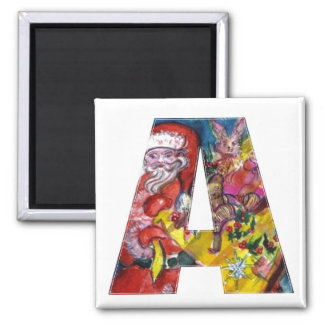 CHRISTMAS A LETTER  / SANTA  WITH GIFTS MONOGRAM SQUARE MAGNET