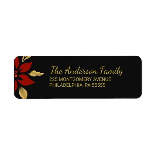 Christmas Abstract Red Poinsettia Return Address Return Address Label