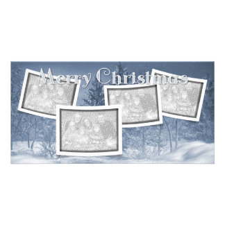 Christmas ADD YOUR PHOTOS Blue Snow Scene Photo Greeting Card