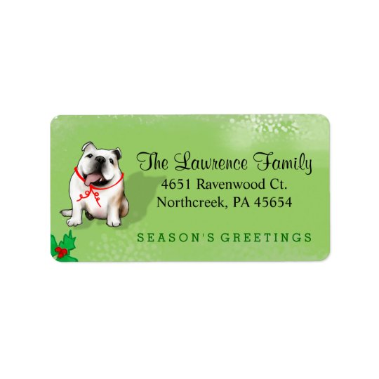 Christmas Address Label - Bulldog - GREEN