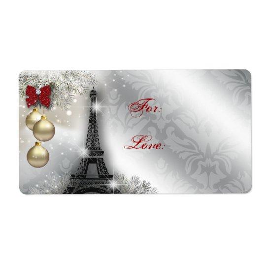Christmas Address Label Eiffel Tower Paris France