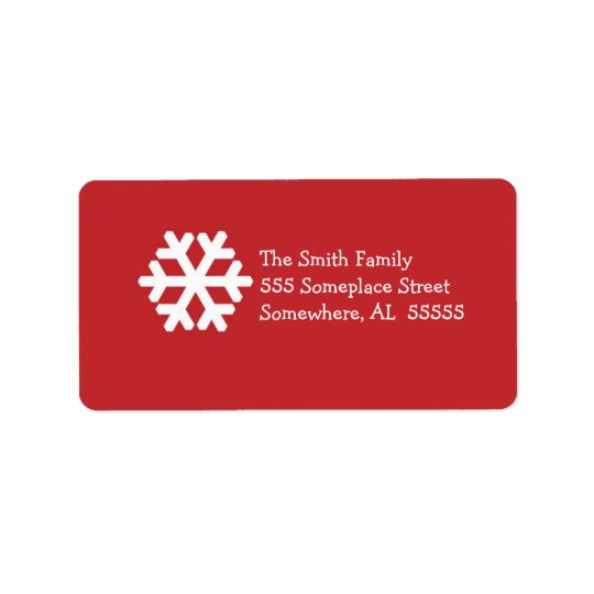 Christmas Address Label-Red and White Snowflake Address Label