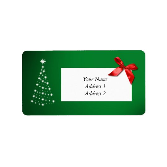 Christmas Address Labels Green w Star Tree & Bow