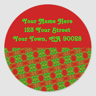Christmas Address Labels Round Sticker