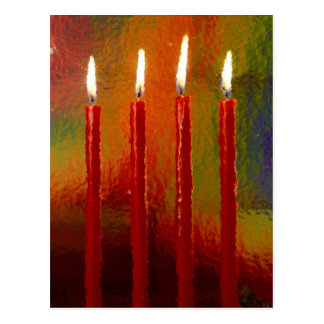 Christmas, Advent, burning red candles festively, Postcard