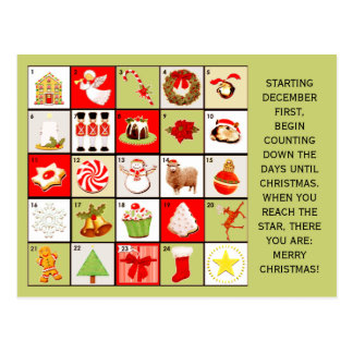 Christmas Advent Calendar cards Postcard