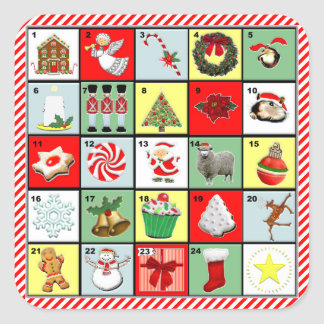 Christmas Advent Calendar Square Sticker